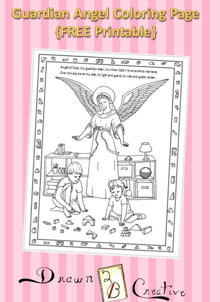 photograph regarding Guardian Angel Prayer Printable identify Parent Angel Coloring Site - Drawn2BCreative
