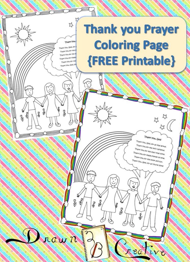 Thank You God Prayer Coloring Page Drawn2bcreative