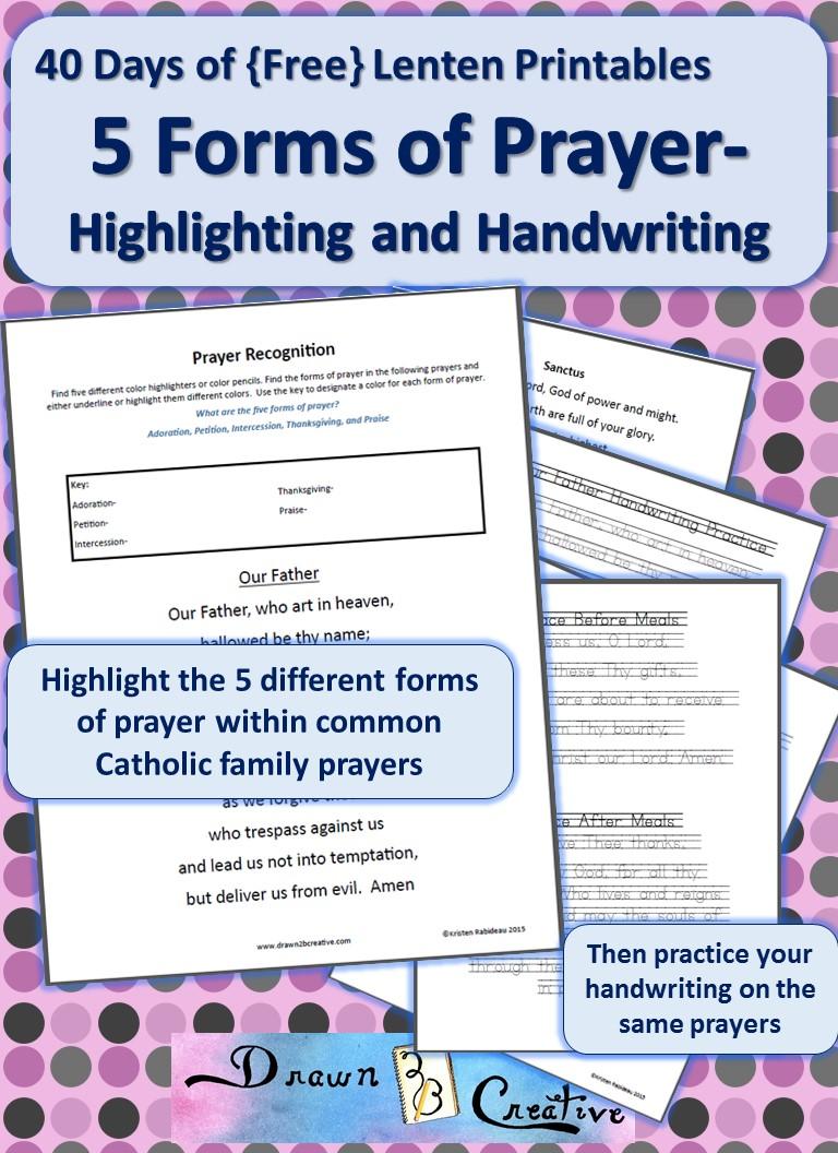 40 Days of Free Lenten Printables: 5 forms of Prayer Highlighting ...