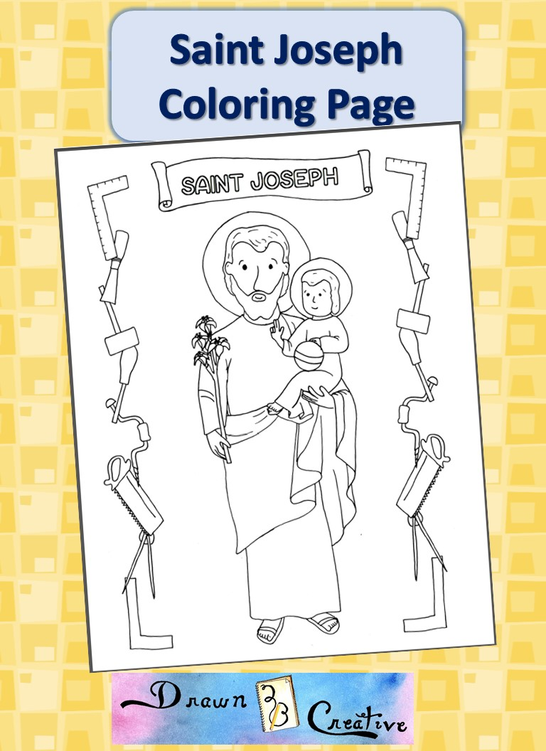 40 days of free lenten printables saint joseph coloring for St joseph coloring page