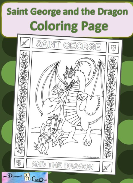 st george coloring page - saint george and the dragon drawn2bcreative