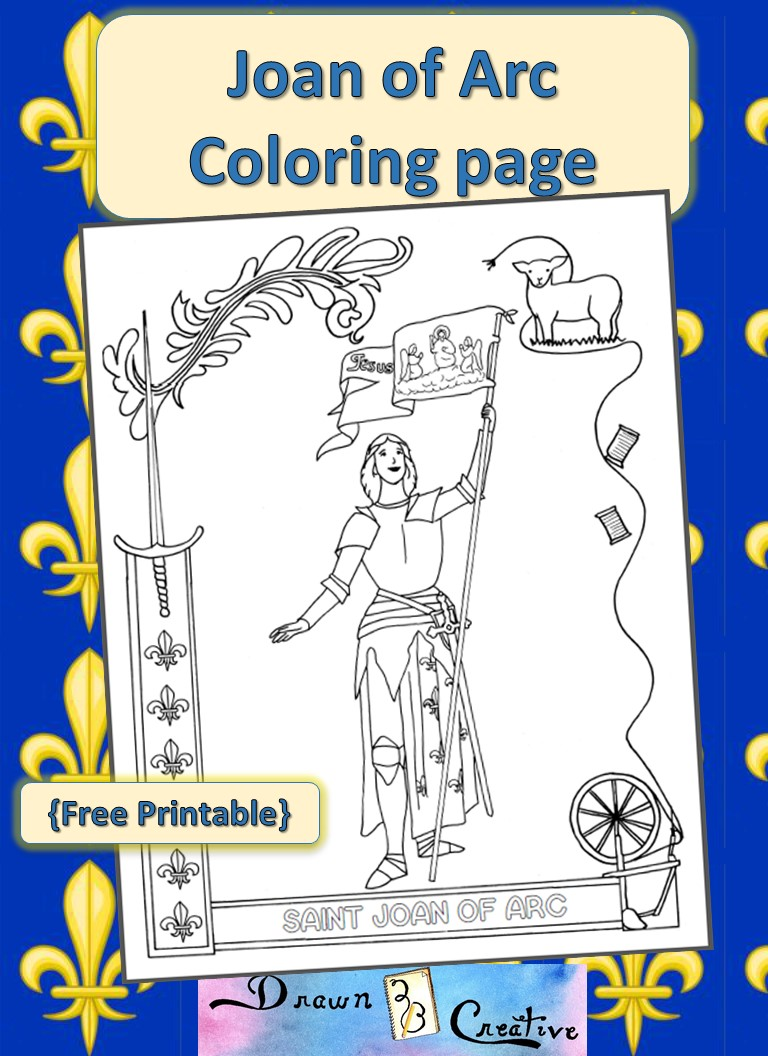 Saint Joan Of Arc Coloring Page Drawn2bcreative