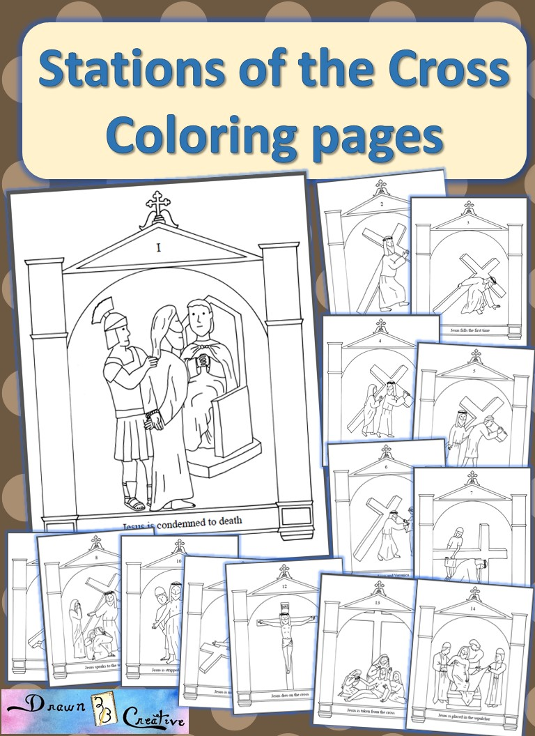 photo about Printable Stations of the Cross titled Stations of the Cross Coloring Webpages - Drawn2BCreative