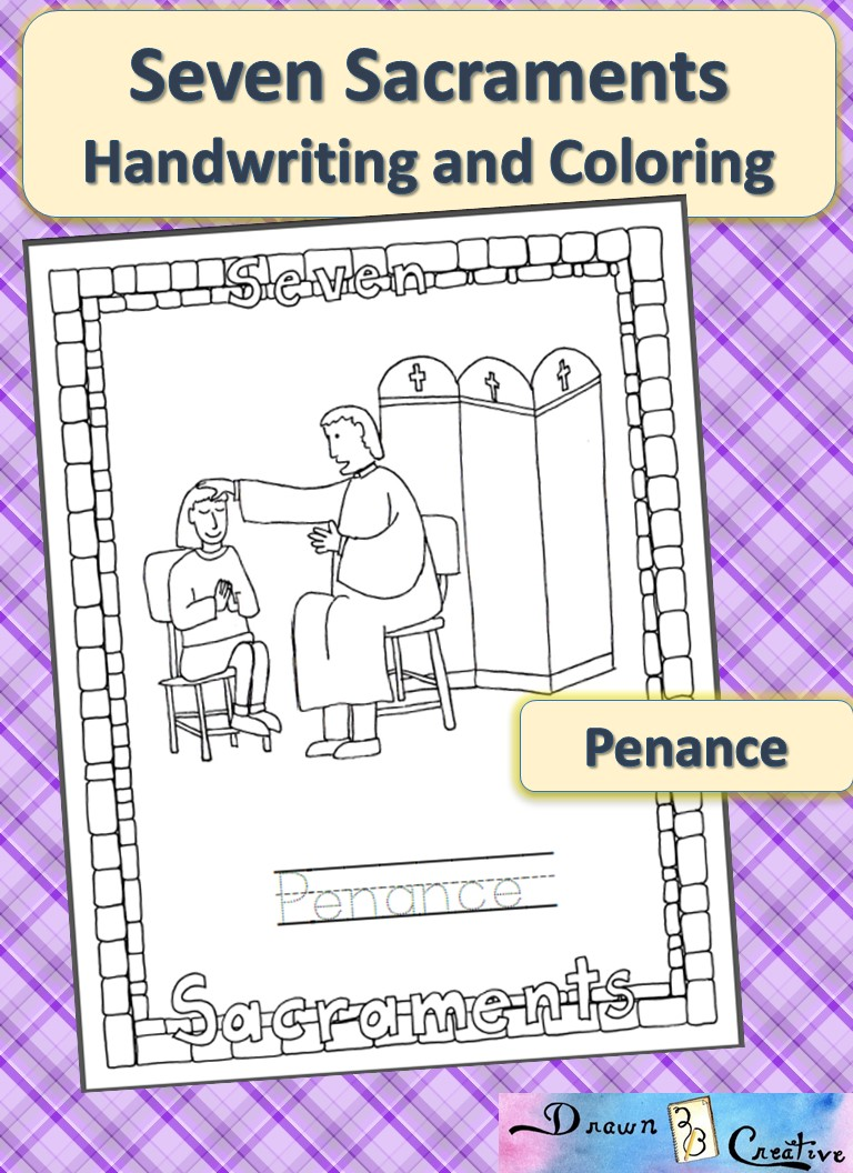 seven sacraments handwriting and coloring penance drawn2bcreative