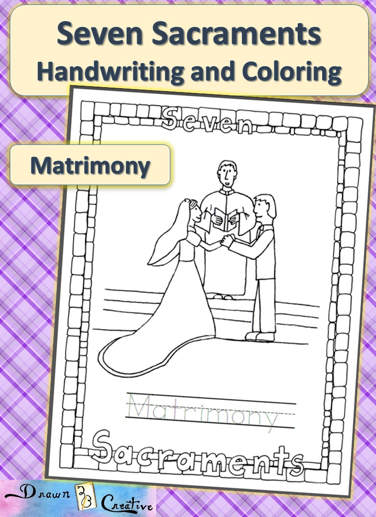 seven sacraments handwriting and coloring matrimony drawn2bcreative. Black Bedroom Furniture Sets. Home Design Ideas