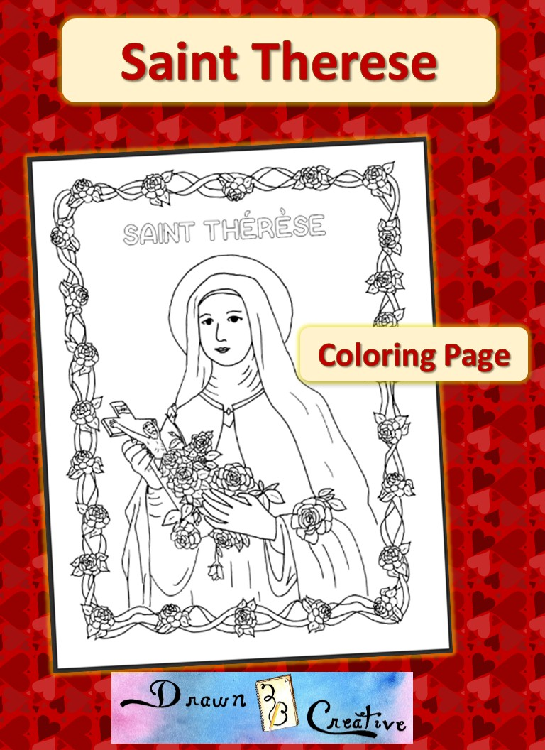 saint therese coloring page drawn2bcreative