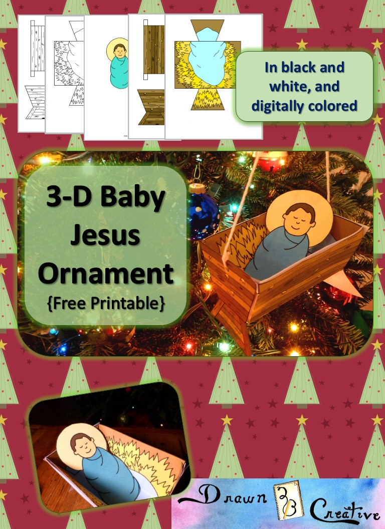 free 3-d printable baby jesus ornament