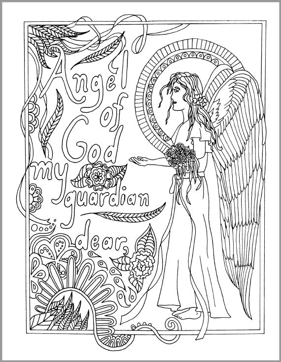 angel adult coloring page
