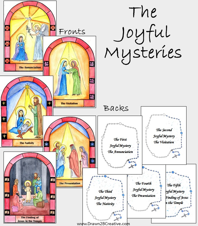 Watercolor Printable Mysteries Of The Rosary Cards