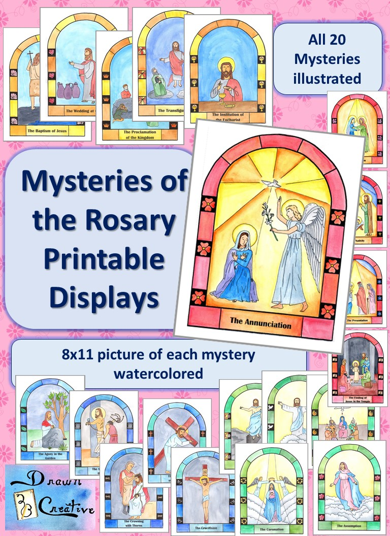 Watercolor Mysteries Of The Rosary Display Posters