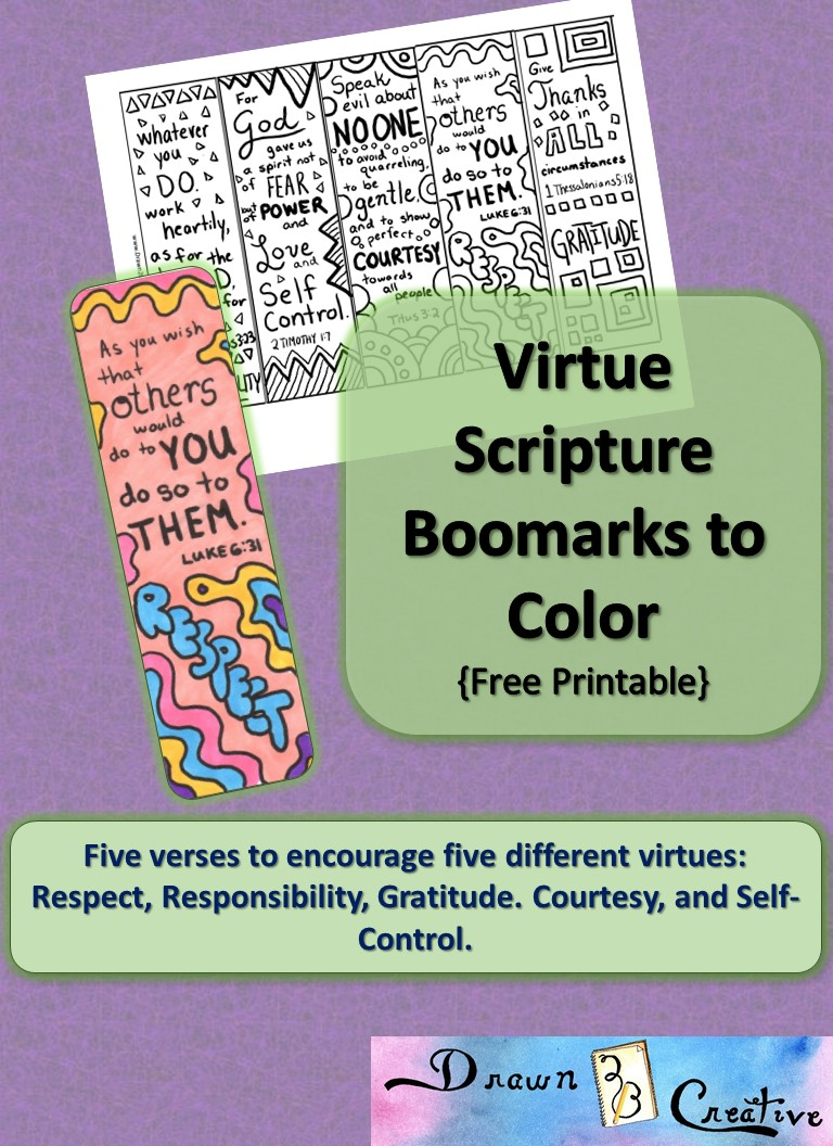 Creative Classroom Idea ~ Free printable virtue scripture bookmarks to color for