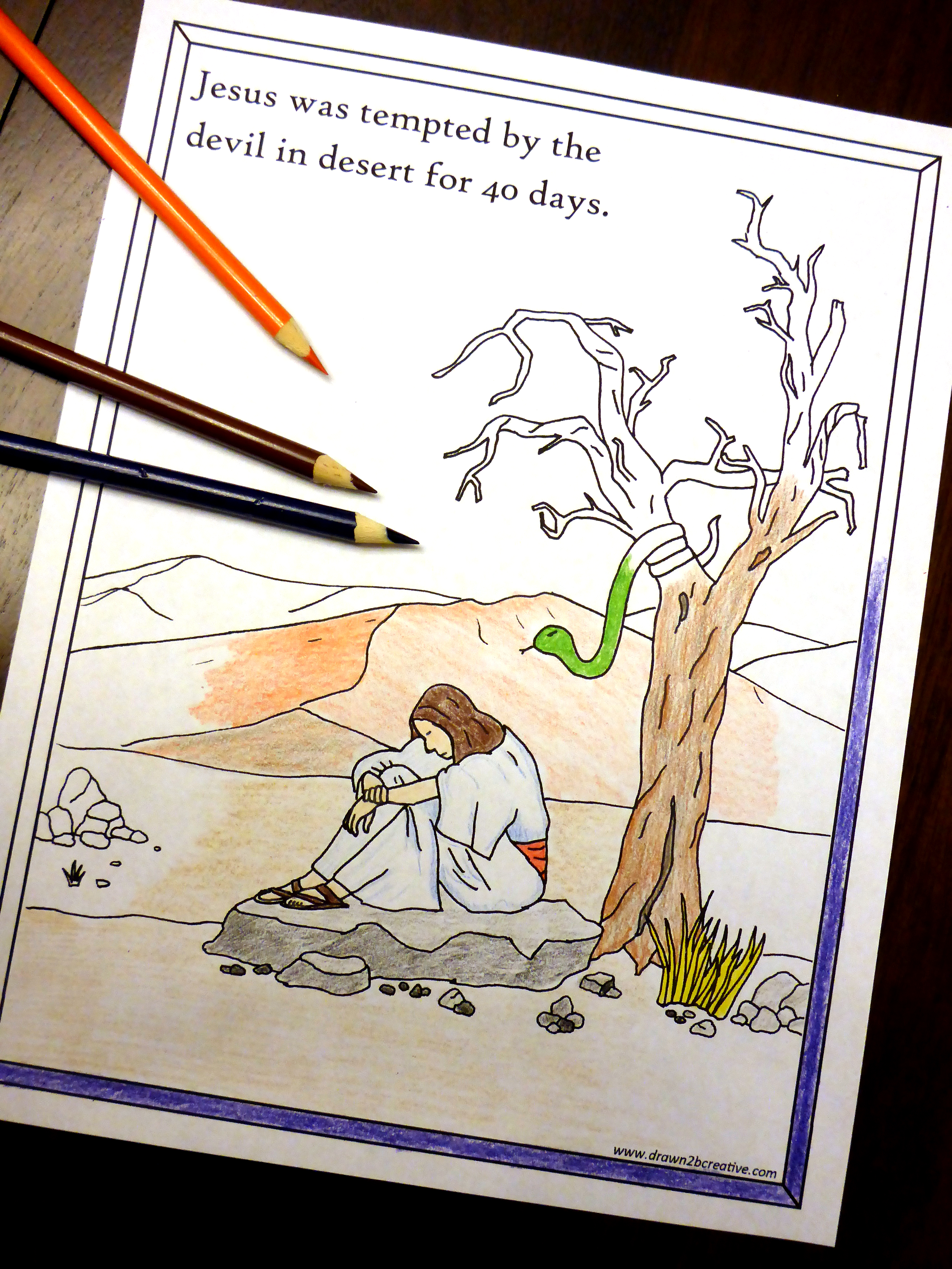 This is a photo of Effortless Jesus Tempted In The Wilderness Coloring Sheet