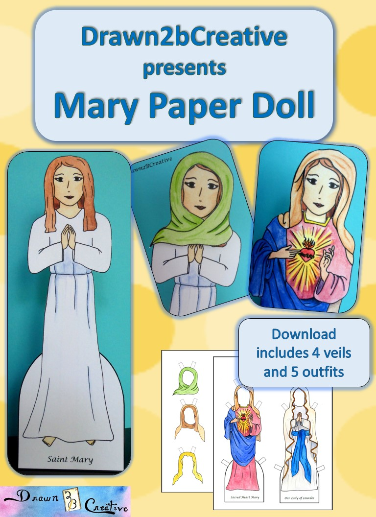 Mary Paper Doll Set Drawn2BCreative
