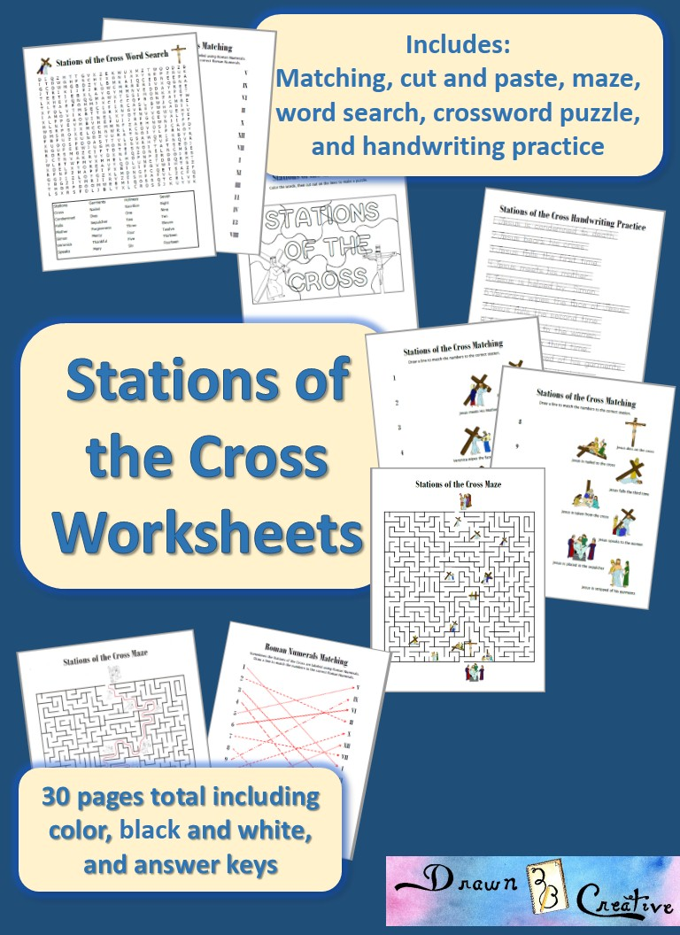 Stations Of The Cross Worksheets Drawn2bcreative